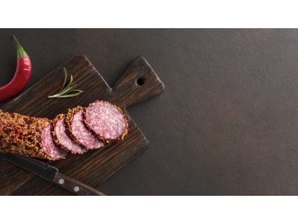 top view delicious salami table with copy space 23 2148439440